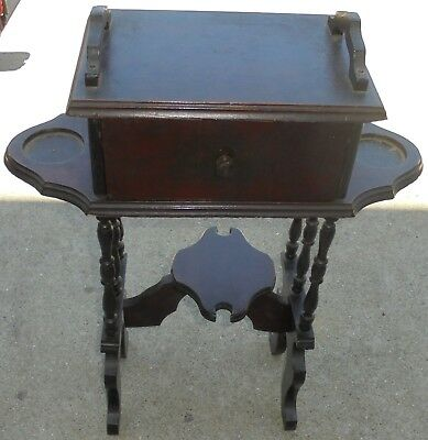 Antique Early American Smoking Stand Metal Lined Humidor Cabinet