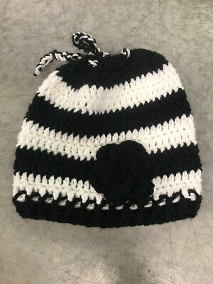 Black And White Womens Knotted Beanie Stripped Ponytail Hole Litrle Black Flower