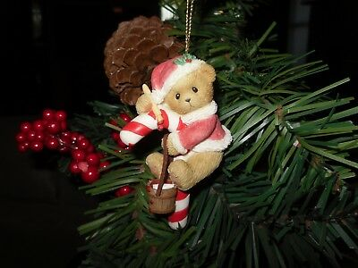 Cherished Teddies ornament Bear on candy cane w/paint can and brush Item#4004615
