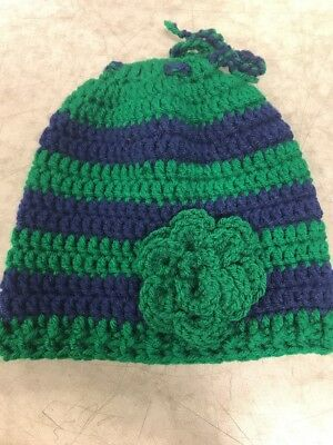 Blue And Green Womens Knotted Beanie Stripped Ponytail Hole Little Green Flower