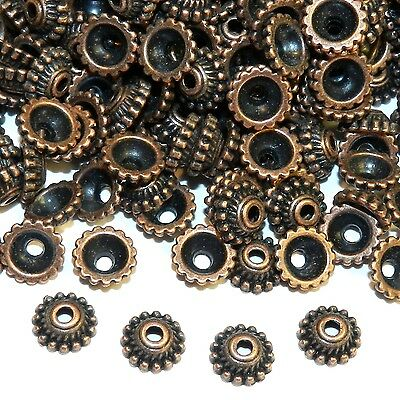 MX3162 Antiqued Copper 7mm Dotted Round w Twisted Rope Metal Bead Caps 200pc