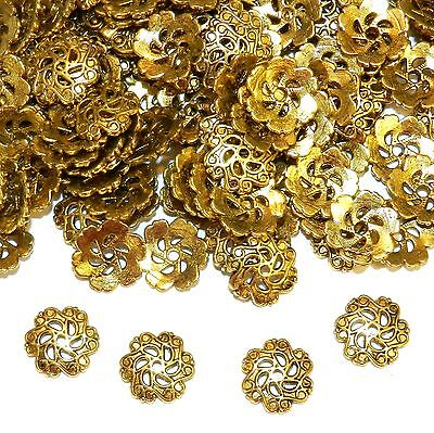 MX5196 Antiqued Gold 12mm Open Scalloped Flower Metal Bead Caps 100pc