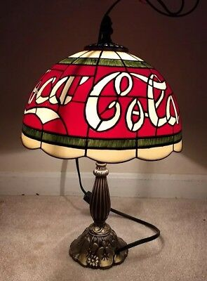 """Vintage Tiffany Style Stained """"Glass"""" Coca Cola Coke Table Lamp Light 16"""" Tall"""