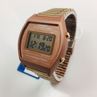 Men's Casio Digital Rose Gold Tone Steel Band Watch B640WC-5A