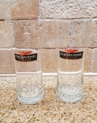 Set of (2) Miller Genuine Draft MGD Tall Beer Glasses Collectible