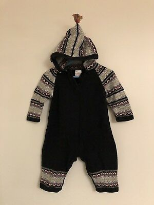 Boys Hanna Anderson Fair Isle Winter Sweater Romper Outfit 80 12-18Months