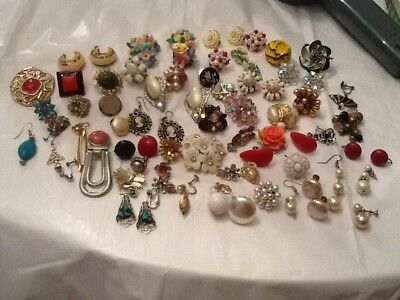 Vintage Large Lot of  Single Earrings / Some Pairs