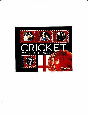 St.Vincent, Cricket World Cup 2011,England & Kevin Pieterson S/S MNH
