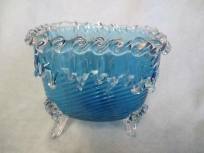 Antique Art Glass Blue Swirl Square Footed Dish - Applied Icicles Design