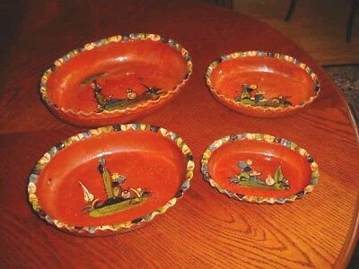 4 Antique/Vintage  Mexican Clay Oval Nesting Casserole Dishes Pie Crust Edges