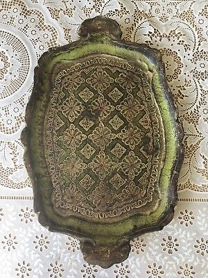Italian Florentine Tray Green/Gold/Rust