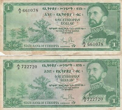 Lot of 2 Ethiopia 1 One Dollar Banknotes