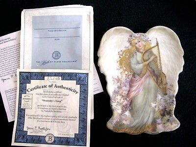 1997 Serenity's Song Angel Plate Bradford Exchange Porcelain Plate, Soft Colors