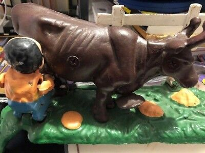 Vintage Old Cast Iron Bank - Man Milking Cow And Man Tips Over  - Great Display