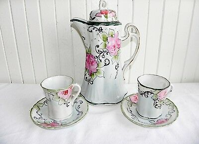 Antique Tohina E-Oh Nippon Hand Painted Moriage Teapot Chocolate Pot Tea Set