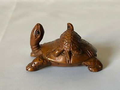 "Vintage Hand Carved Wood Japanese Turtle w Baby Turtle Netsuke 2"" Signed"