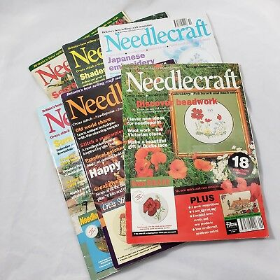 6 Issues Lot Needlecraft Magazine Britain UK Craft Pattern Charts Vintage 1990s