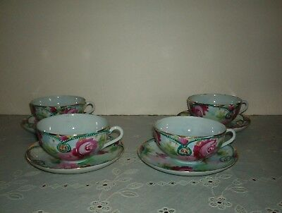 Antique *hand Painted* Nippon Gold And Roses Set 4 Cups And Saucers*old Mark*