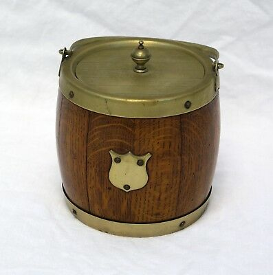 Antique Brookes & Crookes English Biscuit Barrel | Tiger Oak & Brass, Edwardian