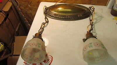 Antique Brass Oval Ceiling Light Fixture & 2 Clambroth Floral Shades