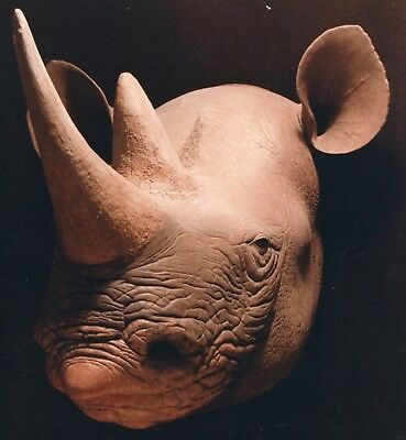Black Rhino Full Size Head Mount Wax Sculpture by Russell Hoover - Wall Mount