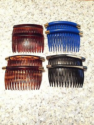lot with 4 sets - Vintage Woman  Hair combs,black,brown,blue
