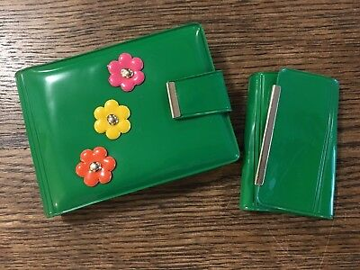 Vtg NOS 60's Hippie Dippie Flower Power Ladies Vinyl Wallet & Key Chain