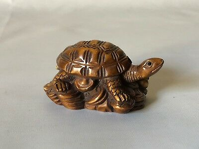 Vintage Hand Carved Wood Japanese Turtle on Money Stack Netsuke Signed 2.25""