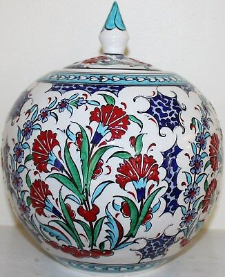 "9""x8"" Handmade Turkish Iznik Red Floral Pattern Ceramic Jar Urn Canister"