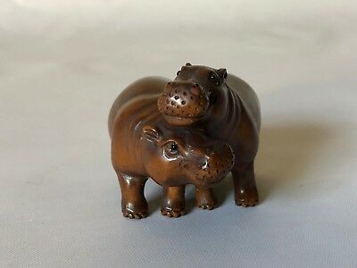 Vintage Hand Carved Wood Japanese Hippopotumus Hippo Love Netsuke Signed 2""