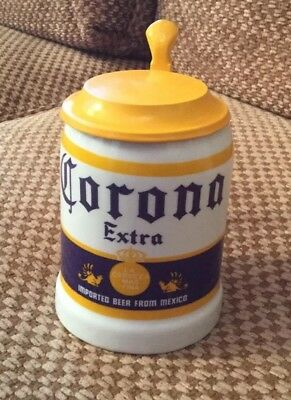 1987 Ceramic Lidded CORONA Beer Stein Officially Licensed. Made In Mexico