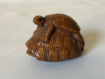 Vintage Hand Carved Wood Japanese Peekaboo Stacked Turtle Netsuke Signed 1 7/8""