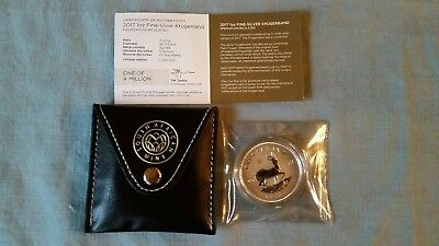 2017 South Africa 1 oz. Silver Krugerrand Premium Unc in snap pouch from Mint