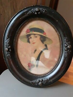 Antique oval wooden original frame woman and hat; early 1900's