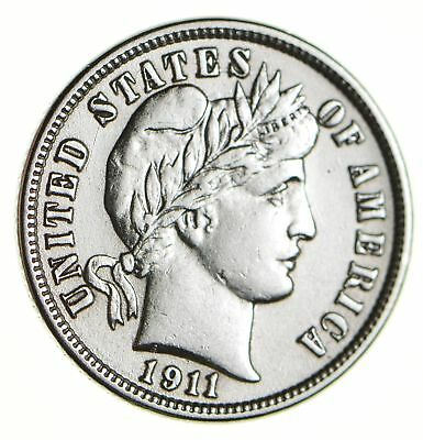 Higher Grade - 1911 Barber Liberty US Silver Dime - Great Detail in LIBERTY *211