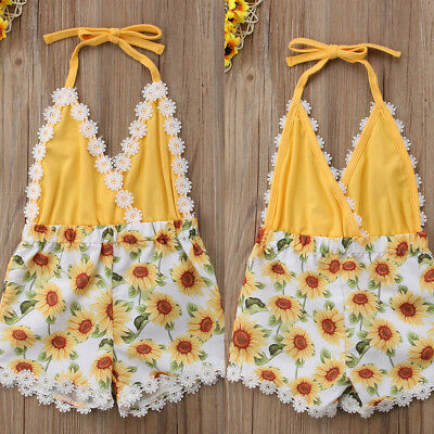 2018 Sunflower Newborn Baby Girl Romper Jumpsuit Dress Clothes Outfits Summer