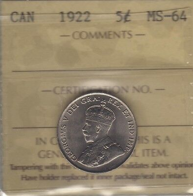 1922 Canada Five Cents Coin. ICCS MS-64 UNC Nickel
