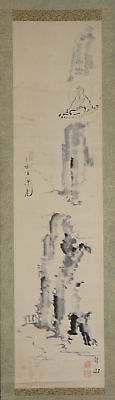 "JAPANESE HANGING SCROLL ART Painting ""Kannon on Cliff"" Asian antique  #E4823"
