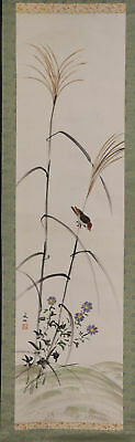 "JAPANESE HANGING SCROLL ART Painting ""Sparrow and Flower"" Asian antique  #E4815"