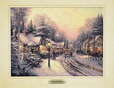 Thomas Kinkade VILLAGE CHRISTMAS 11x14 print UV Coated ready for your frame