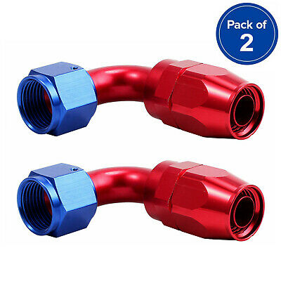 2PCS AN6 -6AN Red-Blue Universal 90 Degree Swivel Hose End Fitting/Adaptor