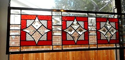 """Triptych-- Stained Glass Window Panel Hanging -8 3/4"""" x 26 1/2"""""""