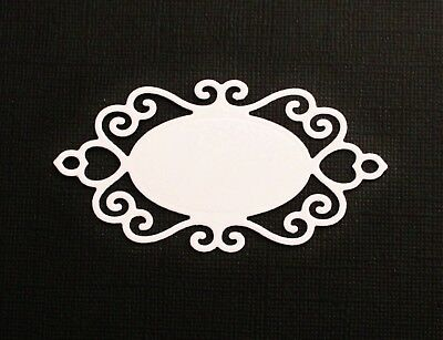 9 x White Oval Heart Ornate Flourish Label Tag Die Cuts Card Making Scrapbooking