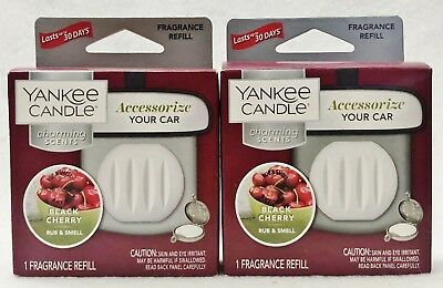 2 Yankee Candle Charming Scents BLACK CHERRY Car Scent Refill Freshener