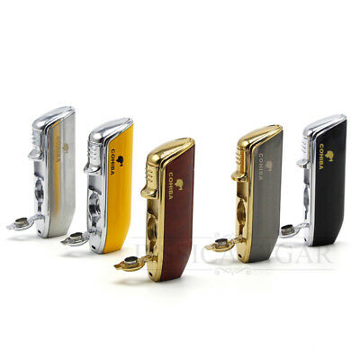COHIBA Metal 3 Torch Flame Cigarette Cigar Lighter With Punch WindProof