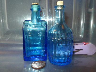 Lot of 2 Vintage Blue Bottles with cork tops - Whiskey - Root Beer Taiwan 1960's