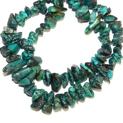 """NG2475 Dark Blue-Green Turquoise Small 4mm - 8mm Pebble Chip Gemstone Beads 15"""""""