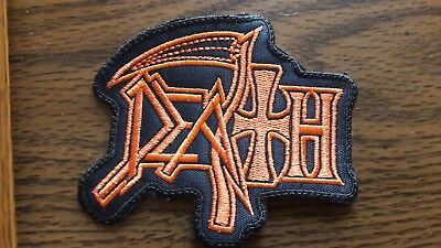 Death,sew On Orange Embroidered Patch
