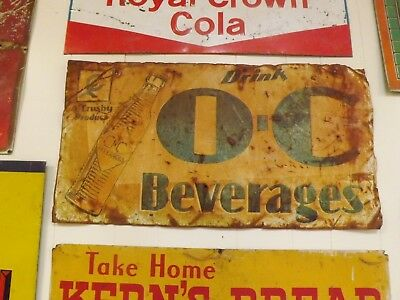 Vintage Early 1929 Orange Crush Metal Sign RUSTY GOLD GAS OIL COLA SODA