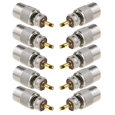 10-pack PL259 Solder Connector Plug with Reducer for RG8X Coaxial Coax Cable